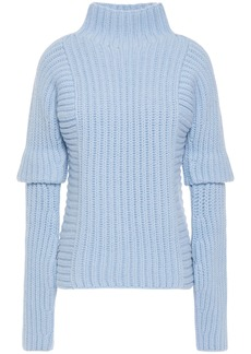 Victoria Beckham Woman Ribbed Wool And Alpaca-blend Turtleneck Sweater Light Blue