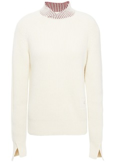 Victoria Beckham Woman Ribbed Wool-blend Sweater Ivory