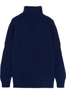 Victoria Beckham Woman Ribbed Wool Turtleneck Sweater Navy