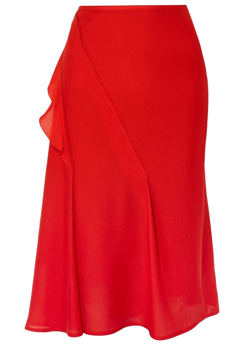 Victoria Beckham Woman Ruffle-trimmed Pintucked Silk Skirt Red