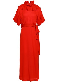 Victoria Beckham Woman Ruffled Silk-jersey Maxi Dress Red