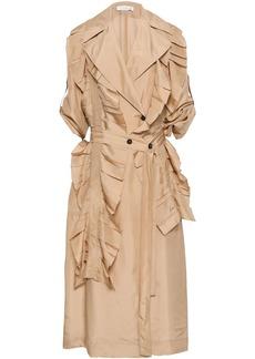 Victoria Beckham Woman Ruffled Silk Trench Coat Beige
