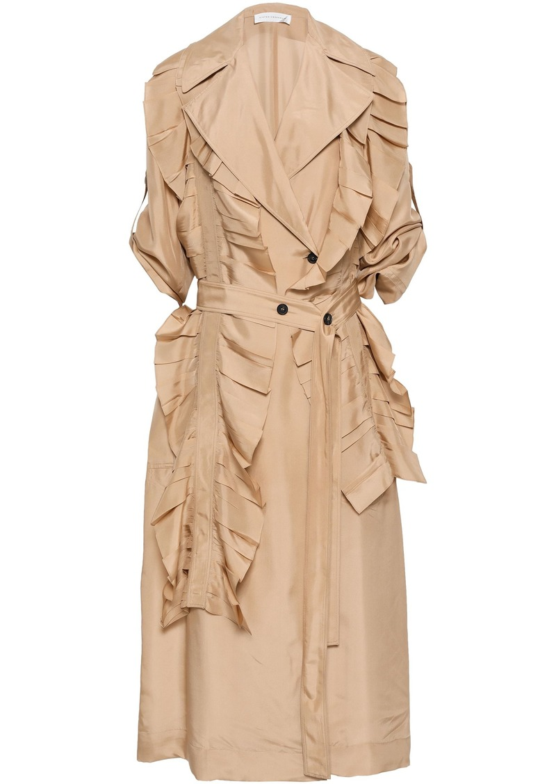 Victoria Beckham Woman Ruffled Silk Trench Coat Beige