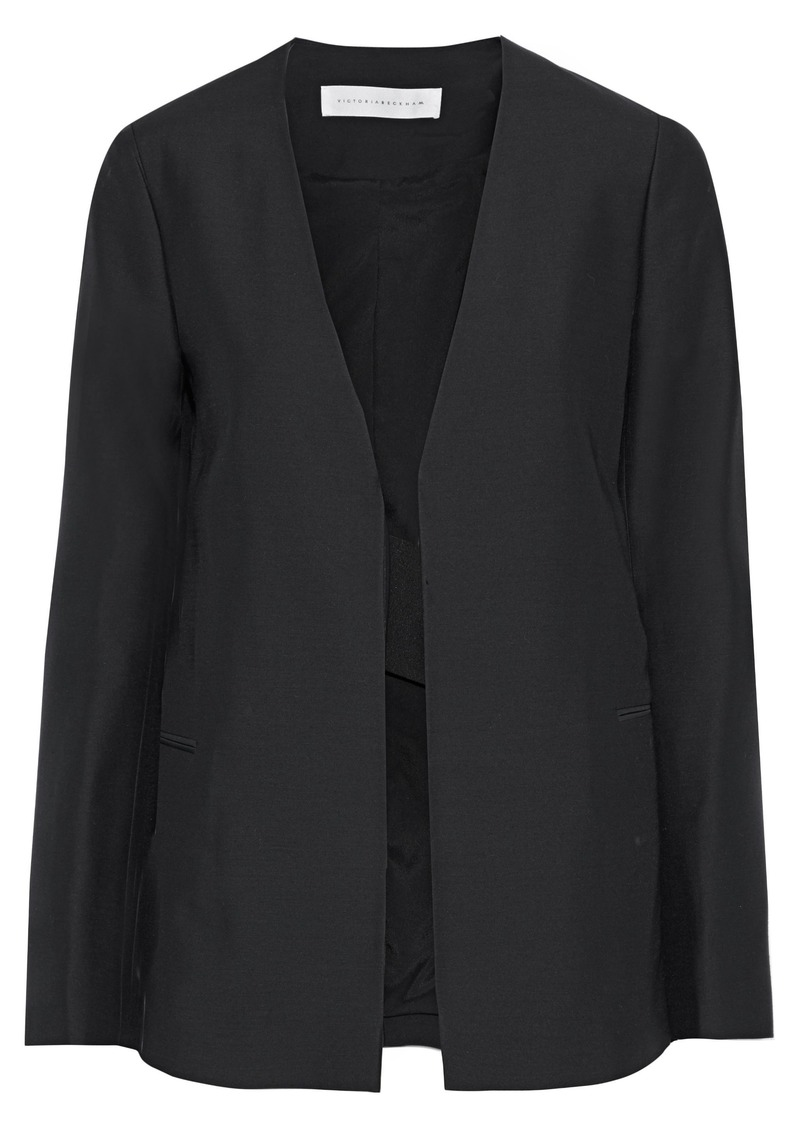 Victoria Beckham Woman Satin-paneled Wool And Silk-blend Shantung Jacket Black