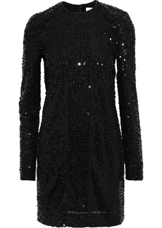 Victoria Beckham Woman Sequined Tulle Mini Dress Black