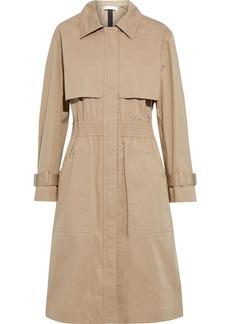 Victoria Beckham Woman Shirred Waxed Cotton-blend Gabardine Trench Coat Camel