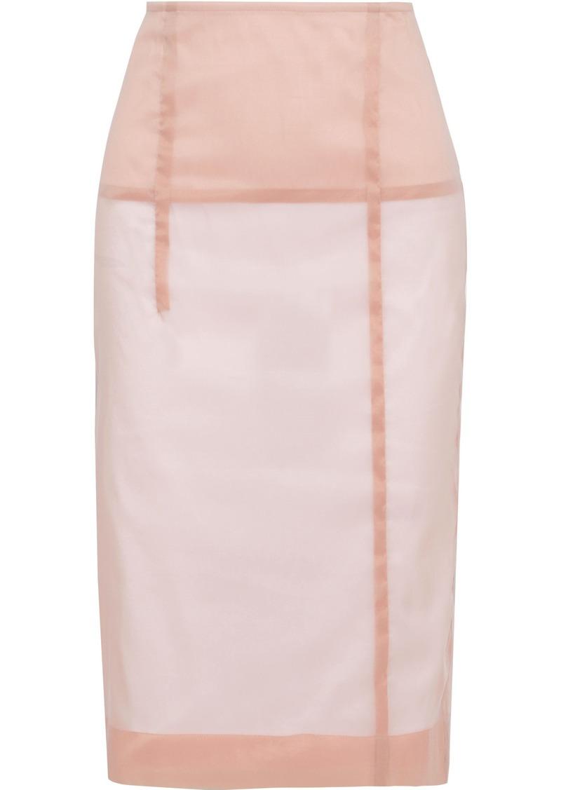 Victoria Beckham Woman Silk-blend Organza Pencil Skirt Baby Pink