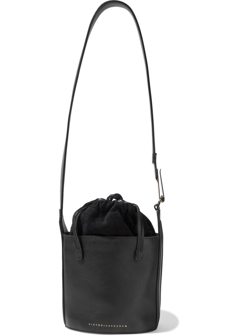 Victoria Beckham Woman Small Textured-leather And Suede Bucket Bag Black