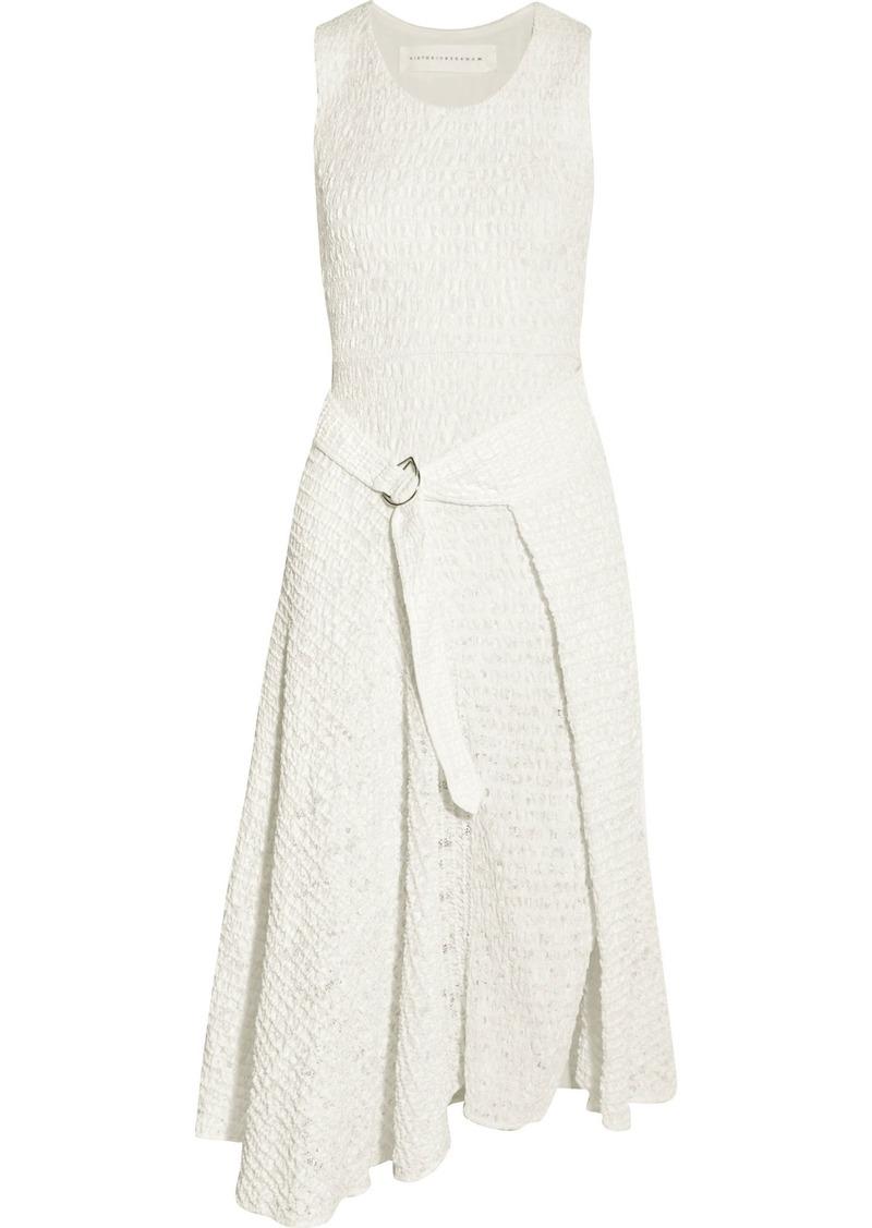 Victoria Beckham Woman Smocked Satin And Lace Midi Dress White
