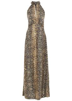 Victoria Beckham Woman Snake-print Silk-twill Maxi Dress Animal Print