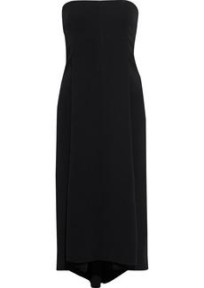 Victoria Beckham Woman Strapless Sequined Tulle-paneled Crepe Midi Dress Black