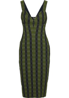 Victoria Beckham Woman Striped Cloqué-jacquard Dress Leaf Green
