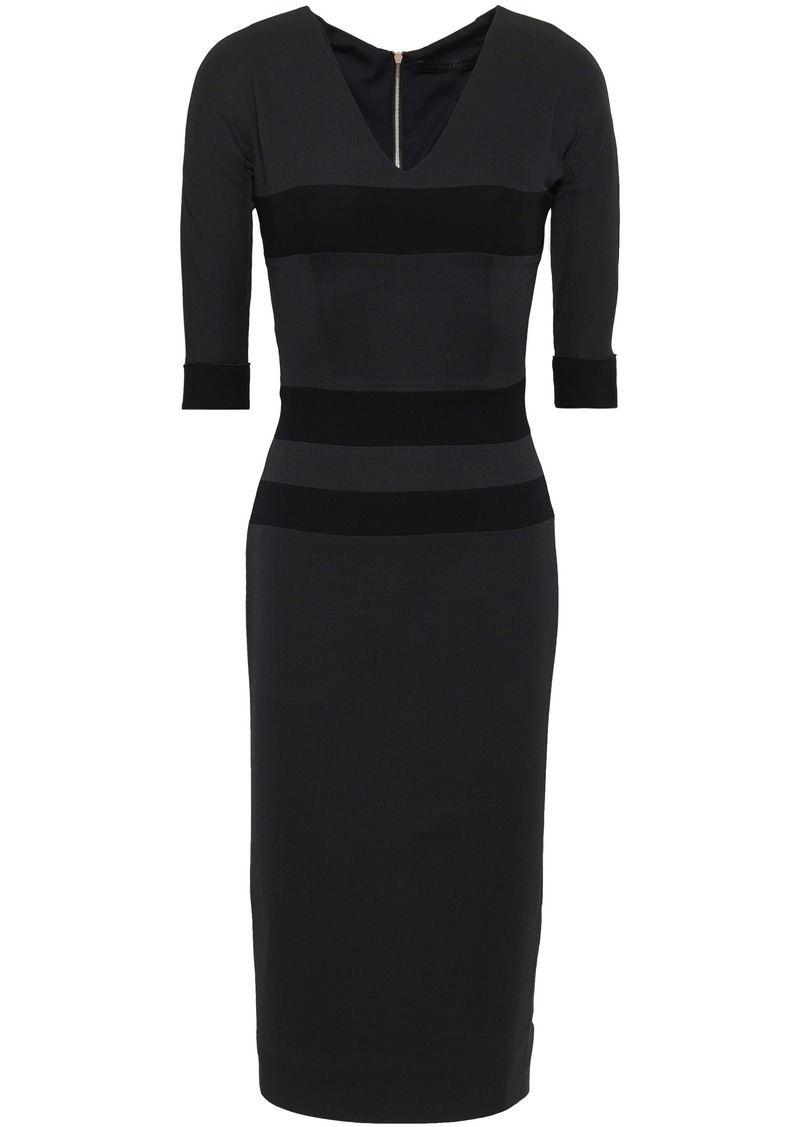 Victoria Beckham Woman Striped Wool And Silk-blend Crepe Dress Charcoal