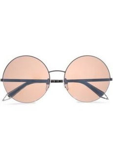 Victoria Beckham Woman Supra Round-frame Gunmetal-tone And Acetate Sunglasses Black