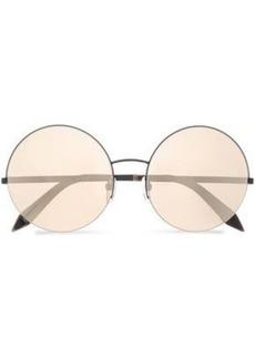 Victoria Beckham Woman Supra Round-frame Gunmetal-tone Mirrored Sunglasses Black
