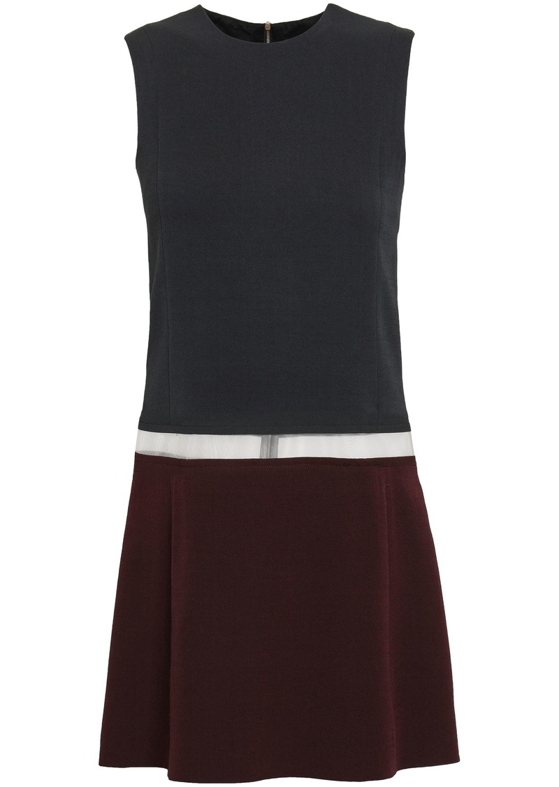 Victoria Beckham Woman Tulle-paneled Wool And Silk-blend Crepe Mini Dress Charcoal