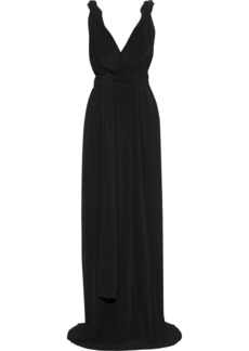 Victoria Beckham Woman Twisted Plissé-georgette Gown Black