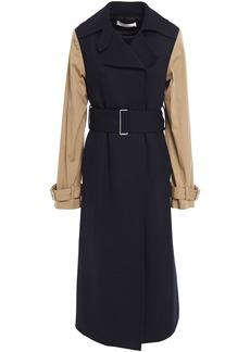 Victoria Beckham Woman Two-tone Gabardine-paneled Wool-drill Trench Coat Navy