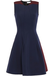 Victoria Beckham Woman Two-tone Ponte Mini Dress Navy