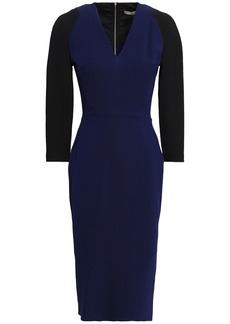 Victoria Beckham Woman Two-tone Silk And Wool-blend Dress Midnight Blue