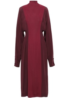 Victoria Beckham Woman Two-tone Silk Crepe De Chine And Twill Turtleneck Midi Dress Merlot