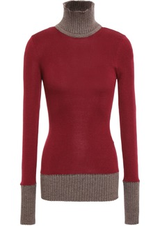 Victoria Beckham Woman Two-tone Wool-blend Turtleneck Sweater Claret