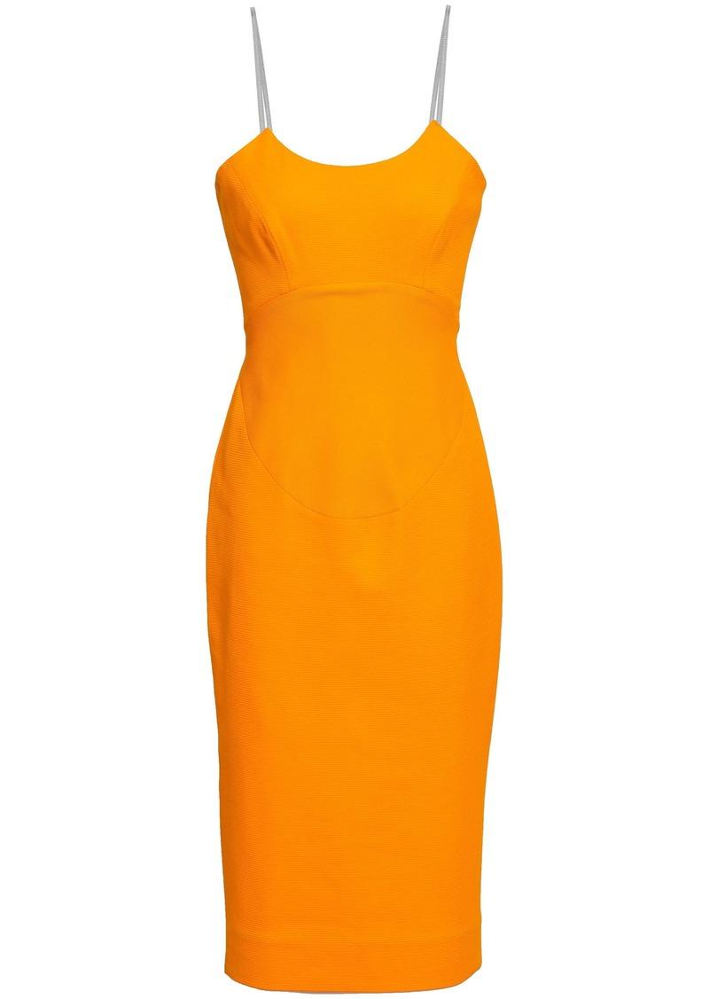 Victoria Beckham Woman Waffle-knit Cotton-blend Dress Marigold
