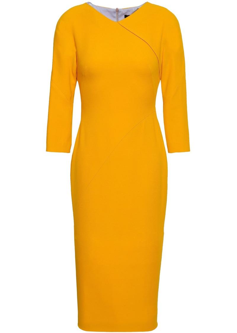 Victoria Beckham Woman Wool And Silk-blend Crepe Dress Saffron