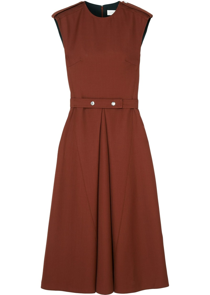 Victoria Beckham Woman Wool-canvas Midi Dress Brown