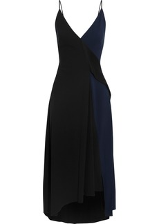 Victoria Beckham Woman Wrap-effect Two-tone Satin-crepe Midi Dress Black
