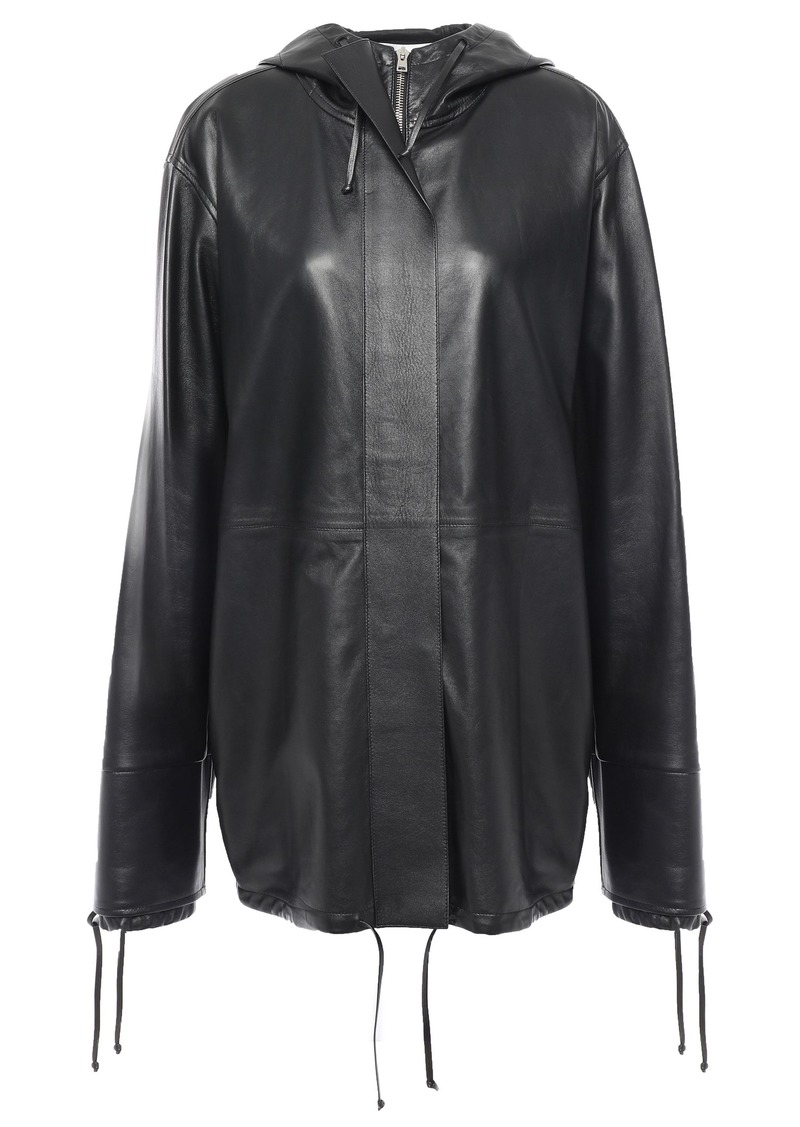 Victoria Beckham Woman Zip-detailed Leather Hooded Jacket Black