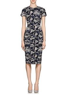 Victoria Beckham Women's Abstract Cotton-Blend Jacquard Fitted Sheath Dress - Bright Blue
