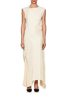 Victoria Beckham Women's Pleated-Inset Crepe Long Dress