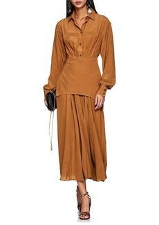 Victoria Beckham Women's Pleated Silk Crepe Shirtdress