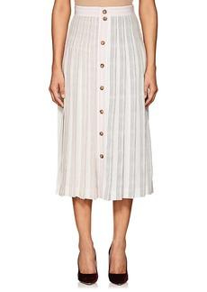 Victoria Beckham Women's Striped Silk Button-Front Midi-Skirt