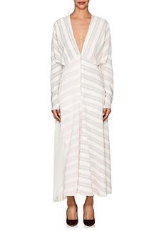 Victoria Beckham Women's Striped Silk Zip-Front Maxi Dress