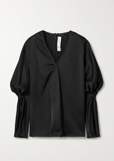 Victoria Beckham Wrap-effect Gathered Satin Blouse