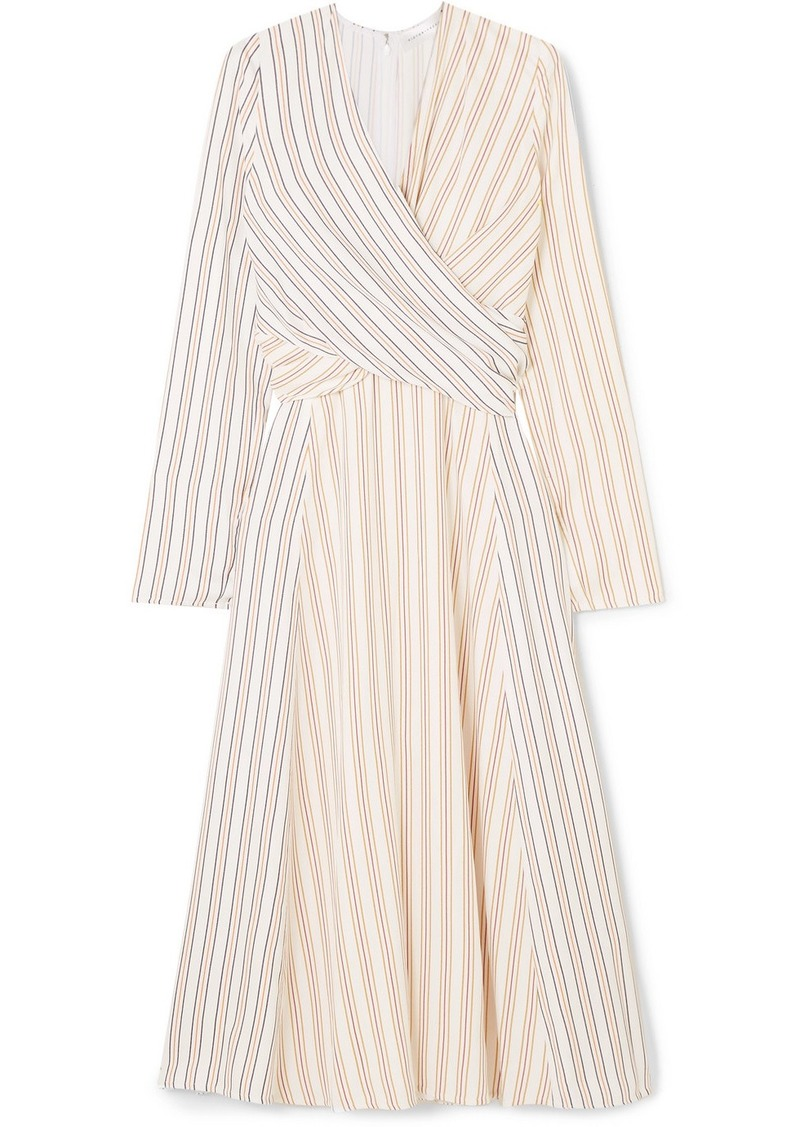 Victoria Beckham Wrap-effect Striped Crepe Midi Dress