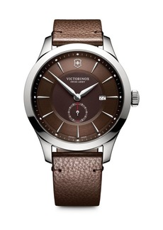 Victorinox Alliance Sterling Silver Analog Leather Strap Watch