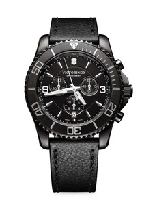 Victorinox Mav Black Titanium & Leather Watch
