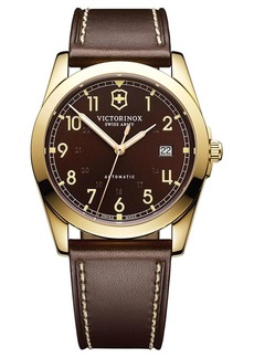 Victorinox Mens Infantry Gold Tone and Leather Watch