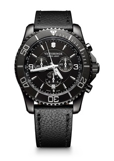 Victorinox Men's Maverick Chrono Leather Strap Watch, 43mm