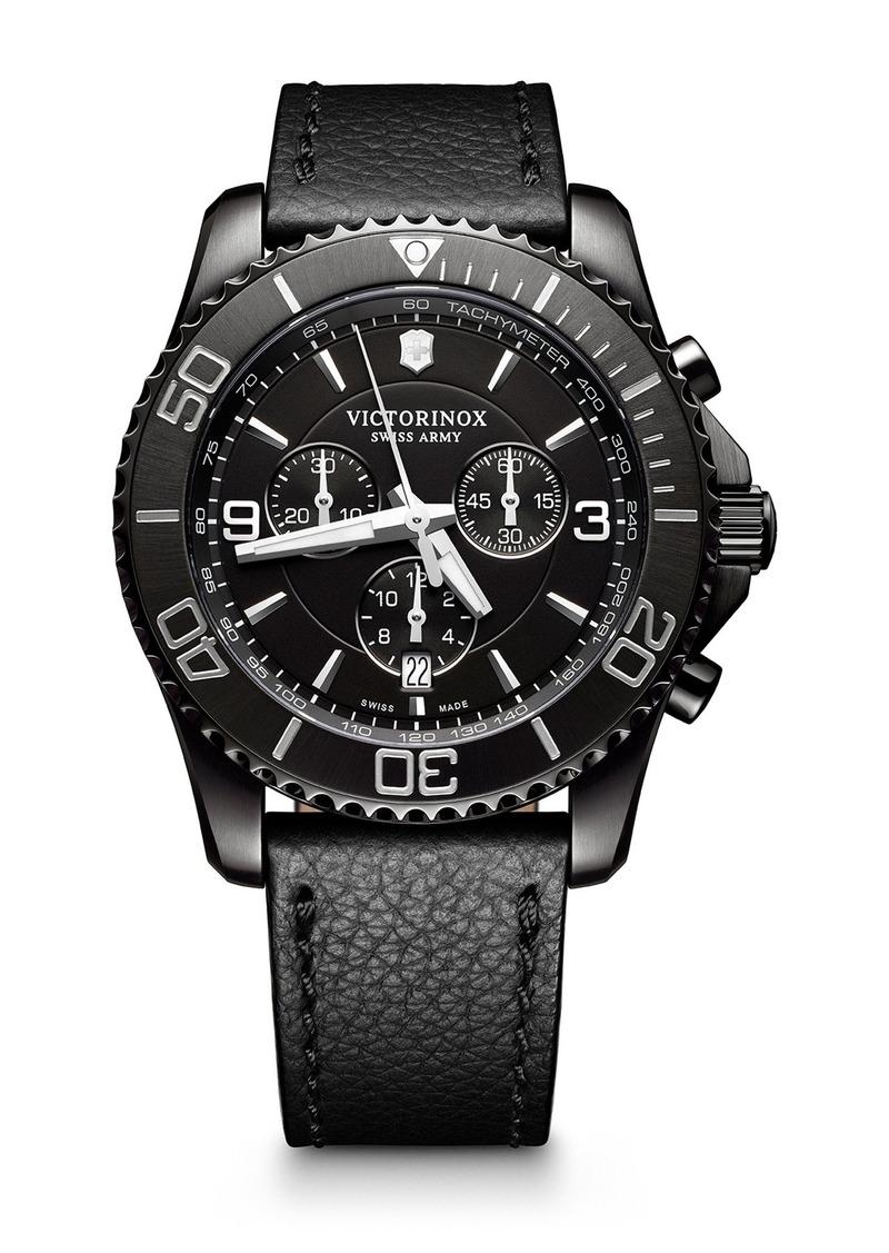 Victorinox Men's Maverick Chrono Leather Strap Watch, 43mm