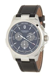 Victorinox Nighvision Chronograph Leather Strap Watch, 42mm