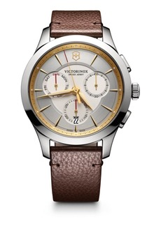 Victorinox Stainless Steel Chronograph Leather Strap Watch
