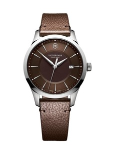 Victorinox Swiss Army Alliance Stainless Steel and Leather-Strap Watch