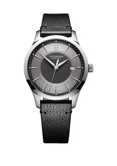 Victorinox Swiss Army Alliance Stainless Steel Scratch-Resistant Leather-Strap Watch