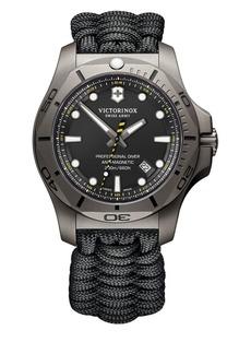 Victorinox Swiss Army I.N.O.X. Professional Diver Sandblasted Titanium Black Camo Paracord Strap Watch