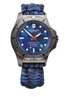Victorinox Swiss Army I.N.O.X. Professional Diver Sandblasted Titanium Blue Camo Paracord Strap Watch