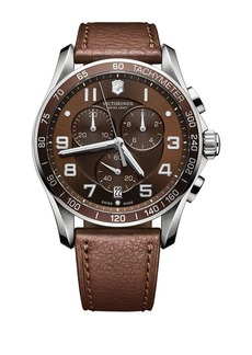 Victorinox Mens Classic XLS Stainless Steel and Leather Chronograph Watch